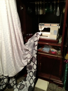 If you look carefully, you can see my cleaning products hanging above my sewing machine.