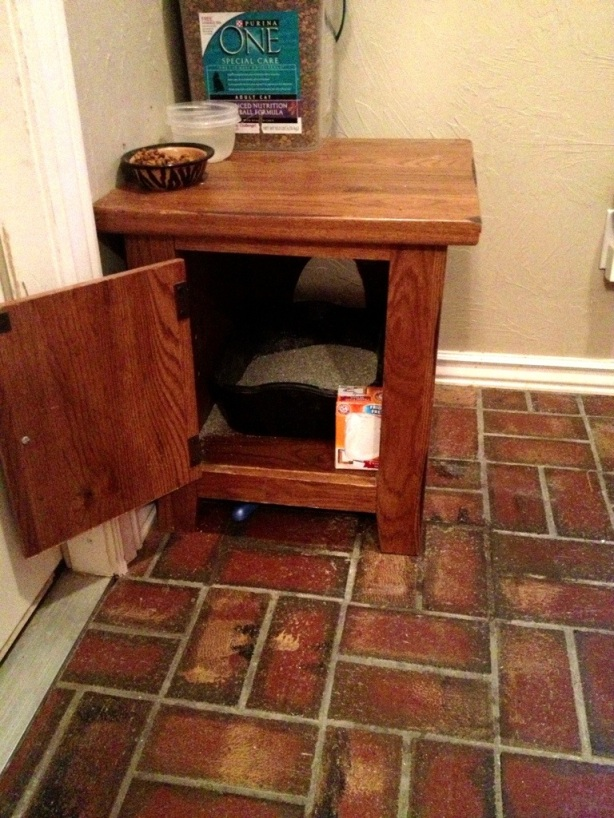 Litter box from old end table