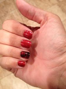sparkly red and black lace